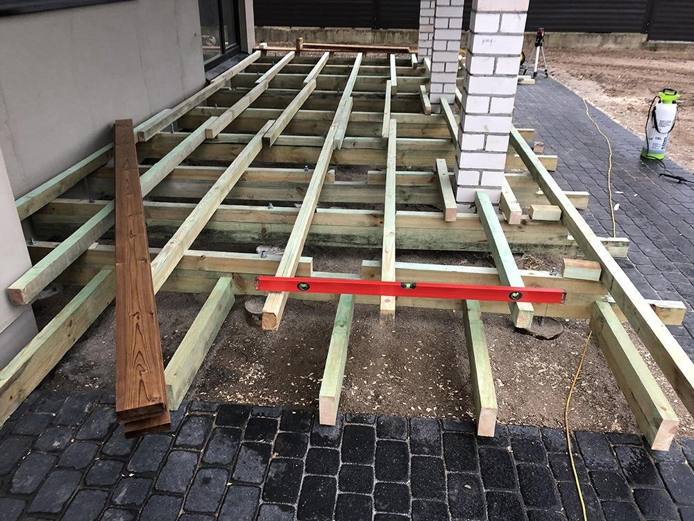 terasos pagrindu irengimas